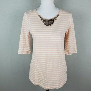 J.Crew Jeweled Striped Painter Mid Sleeve Top MD